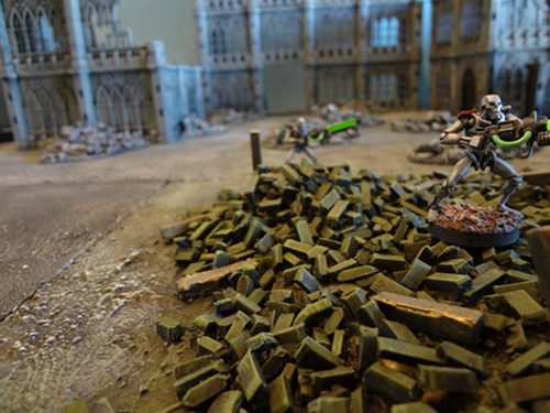 Plastic sprue has been chopped up to represent the rubble of a building.
