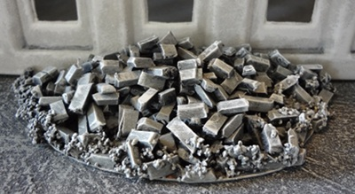 An early rubble pile made with plastic sprue with gaps.