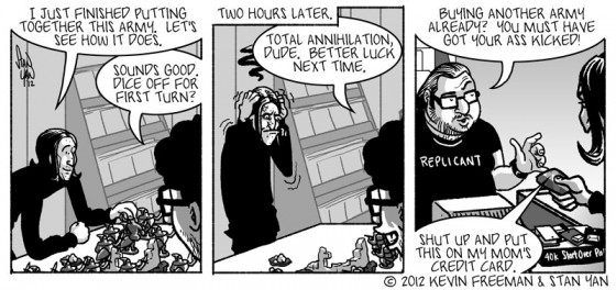 In web comic strip a player loses a Warhammer 40k wargame and then immediately goes to buy a new army on the last panel
