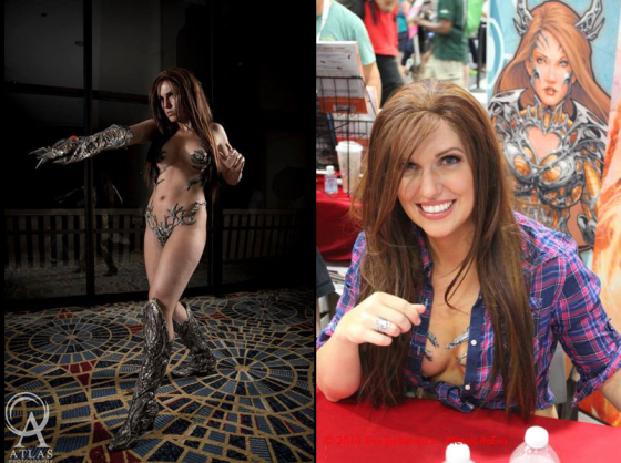 Scantily clad cosplayer in Witchblade costume named Jackie Goehner