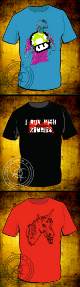 Three T-Shirt Designs from Zombie vs. Human I Run With Zombies Zombie Eating Power Up Mushroom and Zombie Unicorn or Zombiecorn