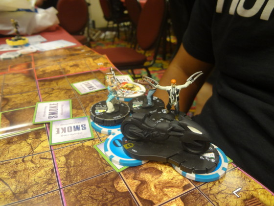 Closeup picture of Batcycle, Shatterstar, Rictor, and Spiral in ROC final match at Las Vegas Comic Expo 2013