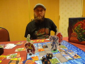 Board game prototype of Big Angry Monsters with creator Anthony Carillo at Las Vegas Comic Expo