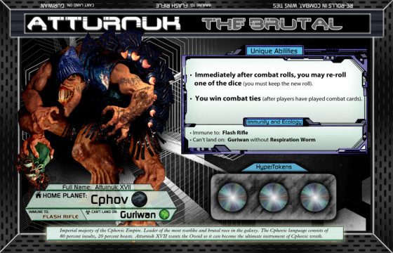 Sword-wielding alien Brute Atturnuk the Brutal from board game Chaosmos
