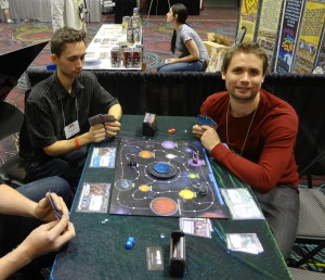 Game designer Joey Vigour from Mirror Box Games at Chaosmos Board Game at GAMA Trade Show convention