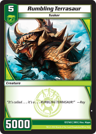 Rumbling Terrasaur Kaijudo card 5000 creature for 5 cost